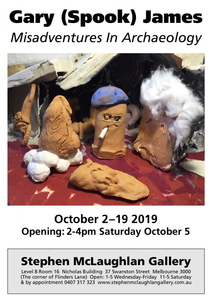 Art exhibition flyer with a picture of strange clay people